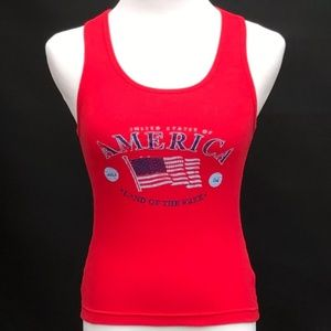 Tops - 5/$25 America Land Of The Free Tank Med
